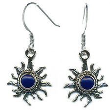 Handcrafted Sterling Silver Sun Earrings Lapis Lasuli Native American Southwest
