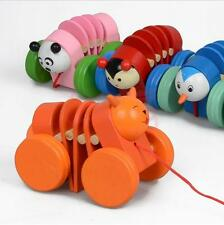 Baby Wood Building Toys Colorful Wooden Stretching Toy Pull Train Dododo Develop