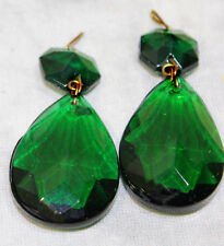 LOTof5 Vintage Emerald Green German glass Crystal Prism Lamp Chandelier Part Old
