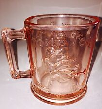 VTG Child's Mug Nursery Rhyme Pink Depression Glass Tom Pipers Son Humpty Dumpty