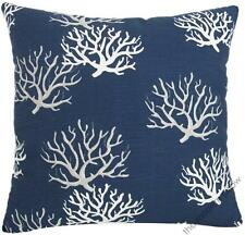 Navy Blue Coral Decorative Throw Pillow Cover/Cushion Cover/Cotton 18x18""