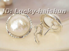 18mm white South Sea Mabe Pearls Earring