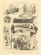 Oxford & Cambridge Boat Race, College Rowing, Sculling, 2pgs, Vintage 1874 Print