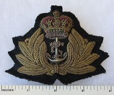 ORIGINAL 1950s Vintage BRITISH ROYAL NAVY OFFICER BULLION CAP BADGE HAT INSIGNIA