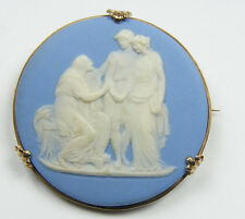 Antique Wedgwood Jasper Cameo Brooch in Gold Frame