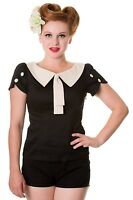 Banned Retro 50s Rockabilly Contrast Collar Shirt Blouse Top 8 10 12 14 16 Black