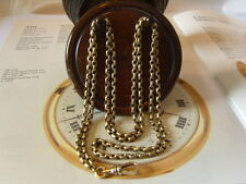 VICTORIAN LADIES LONG NICKEL GUARD/WATCH CHAIN WITH SWIVEL DOG CLIP. C~1890's.