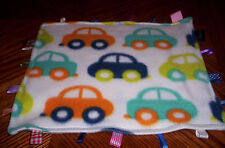 New Handcrafted white,Cars fleece tag,taggie   baby ,toddler security blanket