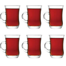 Set of 6 Turkish Cups with Holder Handles 95ml | Hot Glass Tea & Coffee