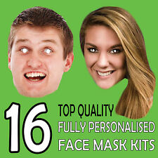 16 PERSONALISED DIY FACE MASK KIT STAG DO HEN NIGHT PARTY SASH BIRTHDAY FUN !
