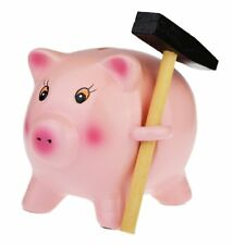 Ceramic - Break To Open - Piggy Money Box Bank 11 cm-Pink
