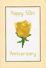 50th anniversario di matrimonio, Giallo Oro Rosa, Cross Stitch Kit Scheda A6 4x 6 14ct