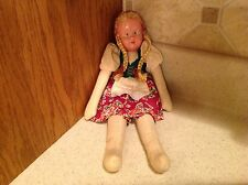 "Vintage Poland 11.5"" Tall Celluloid Face Girl Doll Braided Blond Hair CUTE"