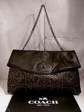 NWT COACH MINI STUDS BLACK LEATHER LARGE CLUTCH HANDBAG w/CHAIN STRAP 33528
