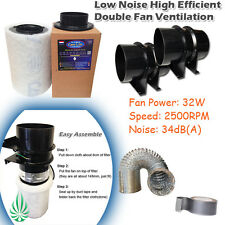 EXHAUST & INTAKE HYDROPONIC GROW VENTILATION CAN CARBON FILTER COMBO DOUBLE FANS