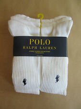RALPH LAUREN MENS WHITE COTTON SPORT SOCKS 6 PACK