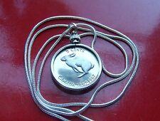 "Classic Centennial Canada Coin Rabbit Pendant on a 28"" 925 Silver Snake Chain"