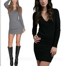 cashmere Pullover Long Sleeved Womens Wool Top Warm Party Sweater Dress Size