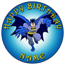 """Batman Ventilador Partido - 7.5 """"Personalizadas Ronda Comestibles Glaseado Cake Topper"""