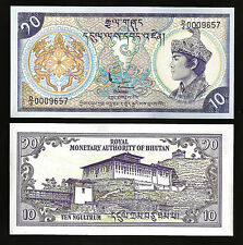 BHUTAN 10 NGULTRUM 1986 UNCIRCULATED P.15A LOW SERIAL