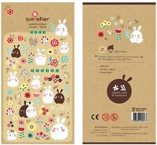 Kawaii Cute Fat Chubby Bunnies/ Rabbits Stickers Suatelier Flowers Diary Deco