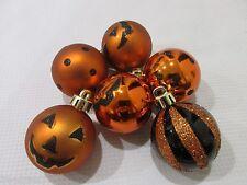 """(6) Halloween Pumpkin Polka Dot Glitter Plastic Ball 2"""" Ornaments Decorations"""