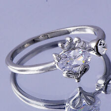 Wedding Anniversary White Gold Filled Cubic Zirconia Womens Crown Ring Size 6