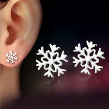 New Women Fashion 925 Sterling Silver Snowflake Stud Earrings Jewelry Xmas Gift