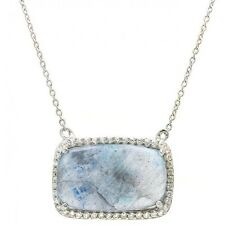 925 STERLING SILVER LADIES MOONSTONE NECKLACE PENDANT W/  ACCENTS/18''