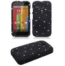 FOR MOTOROLA MOTO G BLING RHINESTONE HARD PLASTIC CASE PHONE COVER BLACK DIAMOND