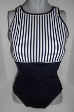 VINTAGE 80s ||COLE OF CALIFORNIA|| NAVY BLUE WHITE STRIPED 1 PC SWIMSUIT *12*