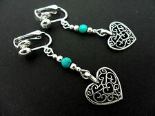 A PAIR OF TIBETAN SILVER DANGLY HEART & TURQUOISE BEAD CLIP ON EARRINGS. NEW.