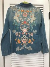 NWT Johnny Was Biya Denim Embroidered Floral Snaps Top Amazing s $229
