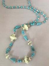 Max Neiger Blue White Czech Glass Art Deco Egyptian Revival  Necklace