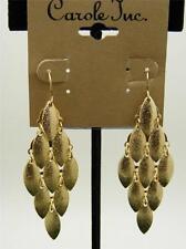 $12 Carole Inc Chandelier Foil Finish Goldtone Drop Dangle Earrings Hook