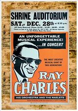 Ray Charles Reproduction Concert Poster, Metal Plaque Concert Poster Vintage