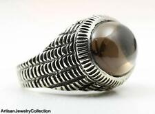 SMOKY QUARTZ & 925 STERLING SILVER RING JEWELRY SIZE 7.75