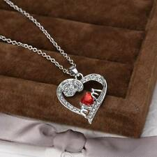 Fashion Women Heart Crystal Rhinestone Silver Chain Pendant Necklace Jewelry Red