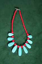 Chunky Turquoise and Red Necklace