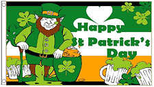 Happy St Patricks Day Leprechaun 5'x3' Flag Ireland Irish