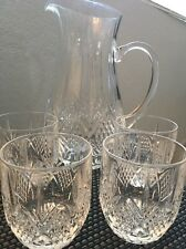 Clear Glass Pitcher And Double Old Fashion Juice Glasses