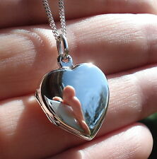 925 Sterling Silver Plain Heart Locket Pendant Necklace Photo Jewellery GiftBox