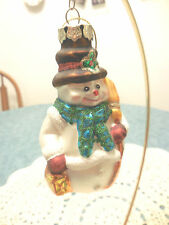 """Glass Snowman with Broom  Christmas Ornament  NEW 4"""""""