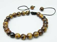 Men's Shamballa bracelet all 8mm TIGER EYE STONE beads