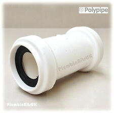 """Polypipe 32mm 1-1/4"""" Universal Push Fit Waste Pipe Coupler Connector UWC32 White"""