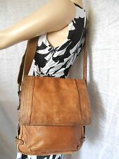 FOSSIL Rare & Vintage Large Brown Leather Messenger Crossbody Bag Purse
