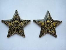 SALE VINTAGE SHERIFF DEPARTMENT AMERICA USA WESTERN LONE STAR PIN BADGE X2 99p