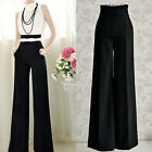 Women Lady Flare Wide Leg Slim High Waist Long Palazzo Trouser Casual Pant S-2XL