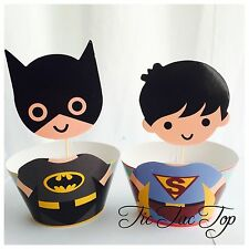12 pcs Batman V Superman Cupcake EXTRA BIG Toppers + Wrappers. Party Boy Cake