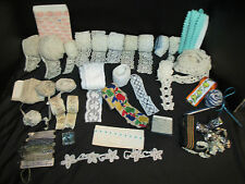 Vintage Lace Trim Lot Butterfly Clover Hand Crochet Pink Shell Greek Keys More